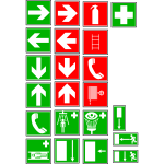 Fire exit and medical instruction signs vector drawing