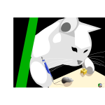 Vector drawing of cat playing with mouse and cheese