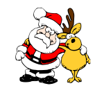 Vector illustration of Santa and raindeer on white background