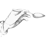 Hand holding a spoon Vector clip art