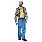 Vector graphics of full body male zombie with a partially exposed brain