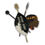 Vector graphics of items and head of a Zulu warrior