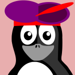Penguin with purple hat